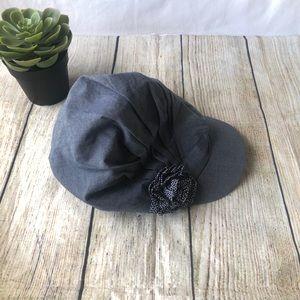 H&M Girl's Denim Flower Hat Size 6-8